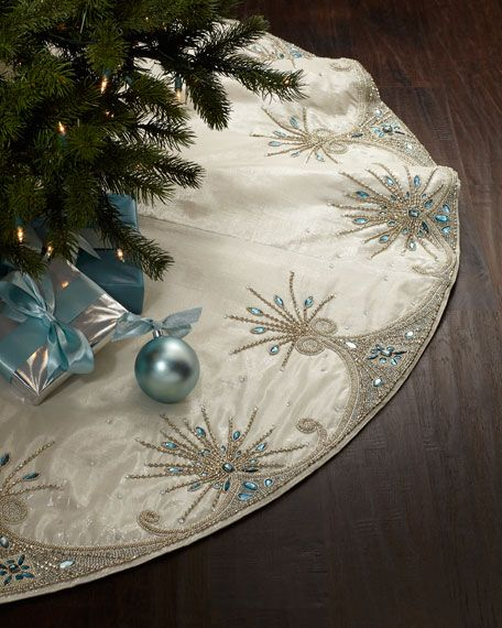 "Kim SeybertJewel Tiara Christmas Tree Skirt $506. 64"" diameter. Plastic and glass beads on cotton/Lurex® fabric. ~ Horchow"