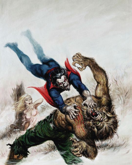 Morbius vs. Werewolf by Night, Marvel magazine cover art by Earl Norem, 1979.