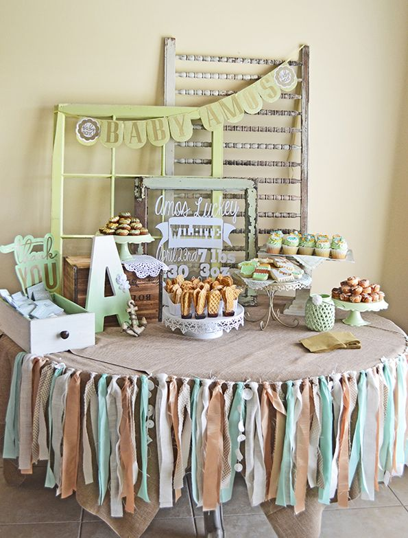 Mint and Gold Baby Shower, tied ribbon tablecloth addition
