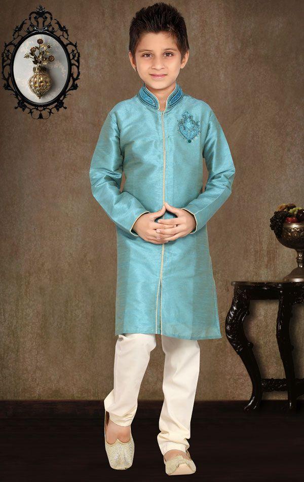 Show details for Mesmerizing Aqua Blue Color Kids Kurta Pyjama