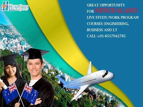 INDIA'S LEADING WEB PORTAL HEXAJOB OFFERS GREAT OPPORTUNITY FOR NEW-ZEALAND LIVE STUDY/WORK PROGRAM COURSES AVAILABLE ENGINEERING, BUSINESS AND I.T  IELTS 5.5 AND 4 YEAR'S GAP ACCEPTED  REFUSAL CASE'S ALSO GET VISA REAPPLY  FOR MORE INFORMATION CONTACT US :+91-8557942785 HOSHIARPUR(PUNJAB)
