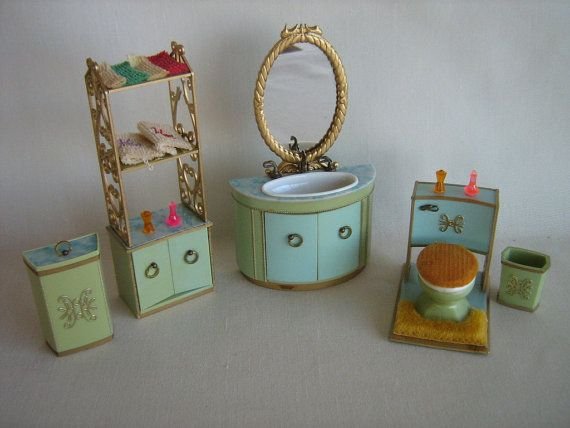 Vintage 60s Ideal Petite Princess Patti Dollhouse Bathroom Furniture In  1:16 Scale