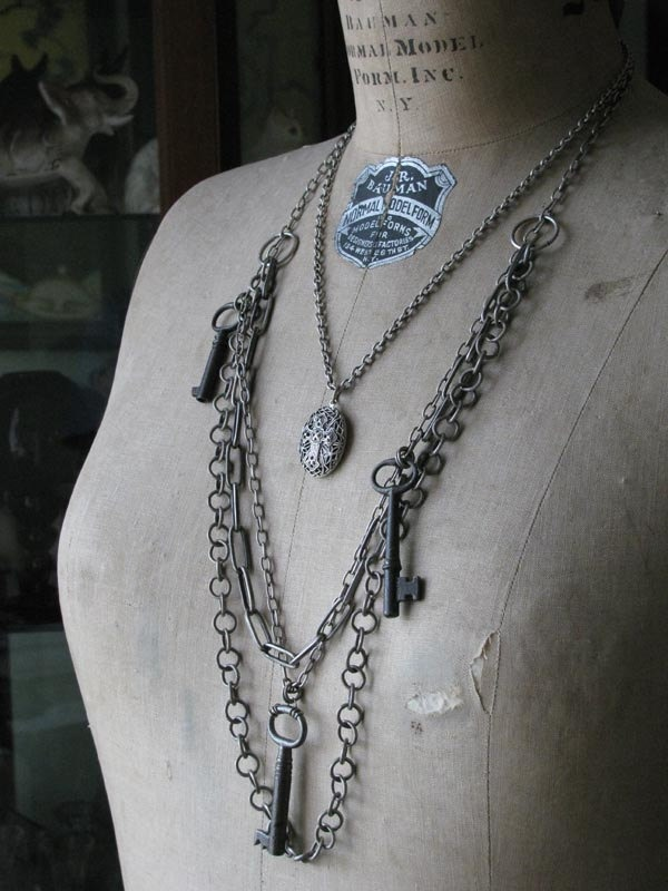 Skeleton Key Jewelry - Vintage Inspired Authentic Skeleton Key and Locket Multi-Chain Necklace
