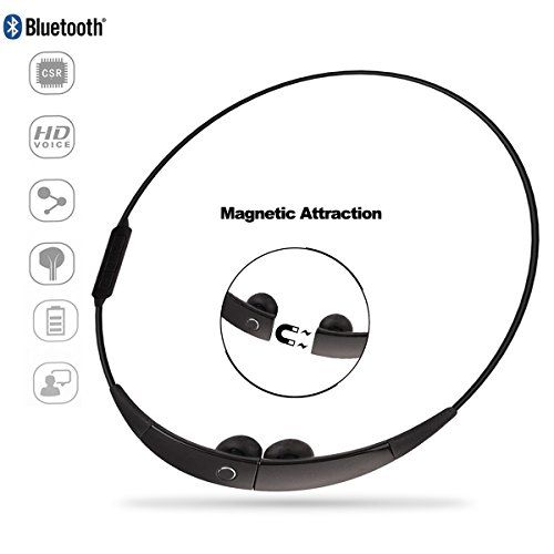 Special Offers - Sport Bluetooth Earphone Costech Magnetic Attraction CSR Wireless Stereo Headphone Neckband Necklace Style Running Headset with Microphone for iPhone Samsung LG Smartphone (Black) For Sale - In stock & Free Shipping. You can save more money! Check It (November 02 2016 at 03:12PM)…
