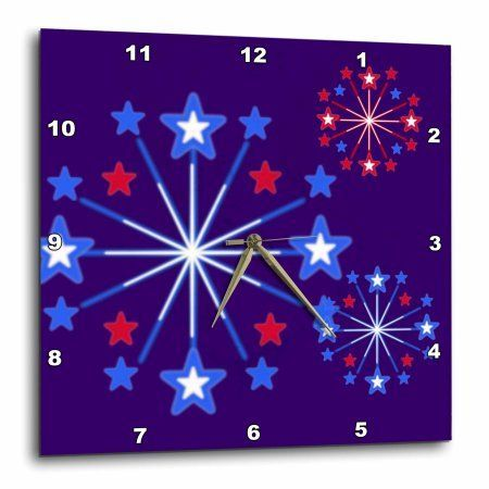 3dRose Patriotic Fireworks Cartoon, Wall Clock, 10 by 10-inch