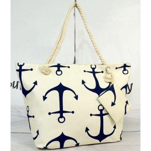 Biela dámska plážová taška s motívom kotvy - fashionday.eu
