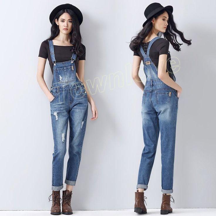 Womens Denim Jeans Cowboy Casual Overalls Suspender Pants Jumpsuits Trousers