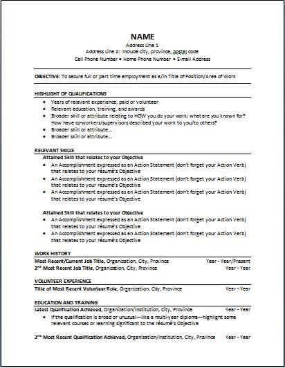 templates for functional resume