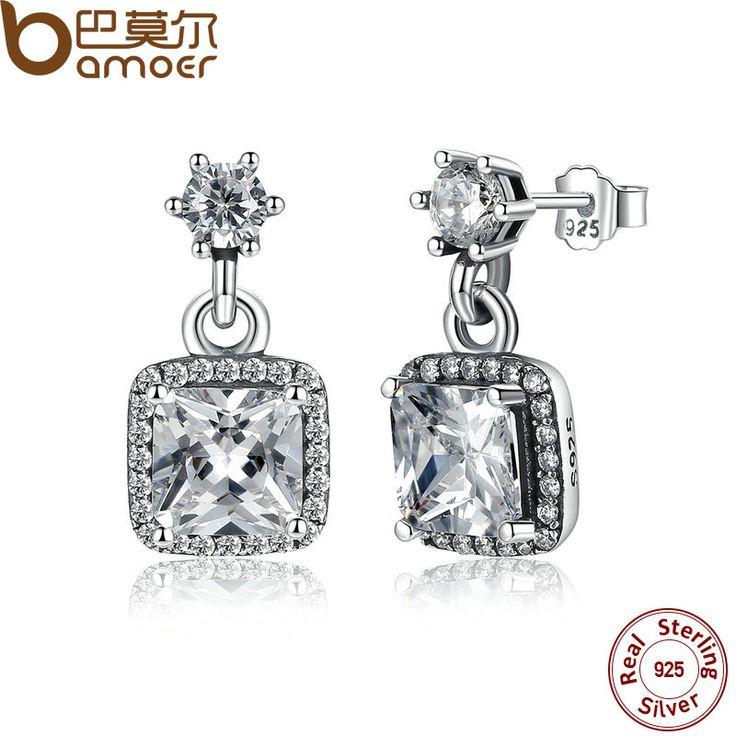BAMOER 100% 925 Sterling Silver Asscher & Round Cut Timeless Elegance, Clear CZ Stud Earrings Wedding Fine Jewelry PAS459
