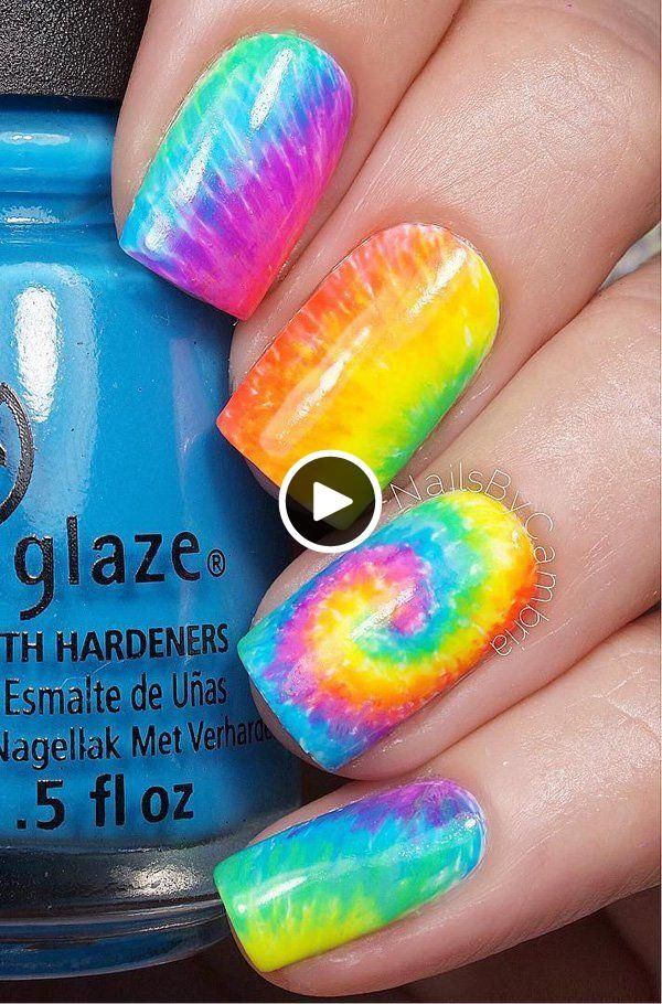40 Dessins D Art D Ongle Aquarelle Rainbow Nails Rainbow Nail