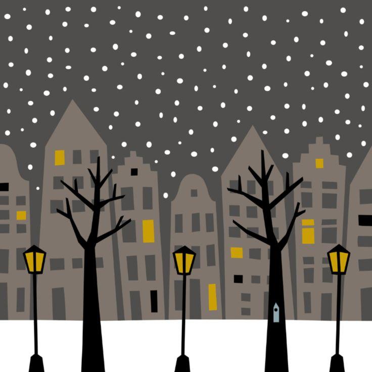 Stad in de Sneeuw 's Nachts, verkrijgbaar bij #kaartje2go voor €1,89