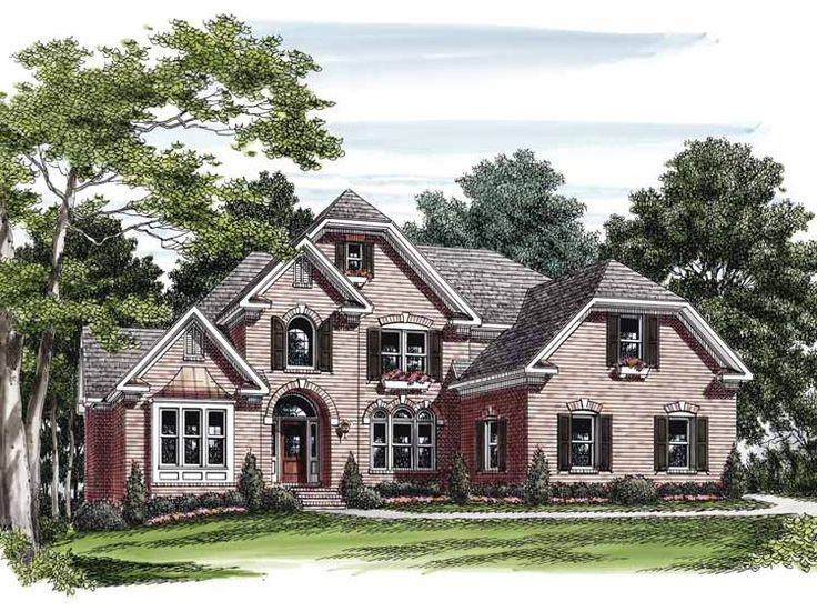 eplans house plan arched windows shutters and lintels add a touch of european flavor to this two story four bedroom home the covered entry gives way to