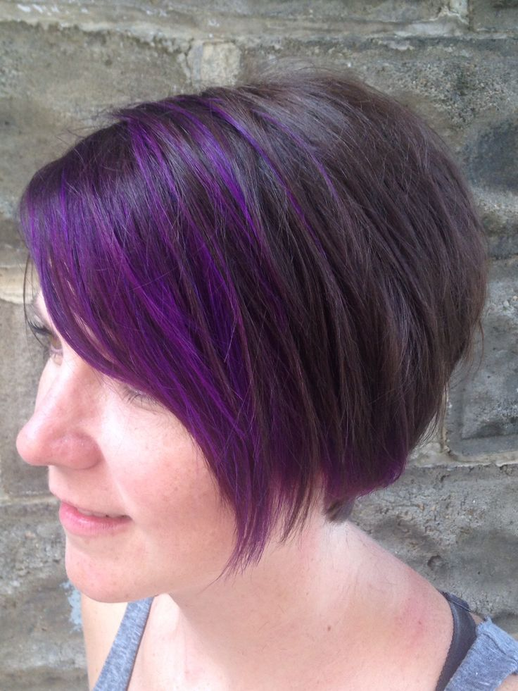 Purple Bangs Purple Pixie Pixie Haircut Brown And