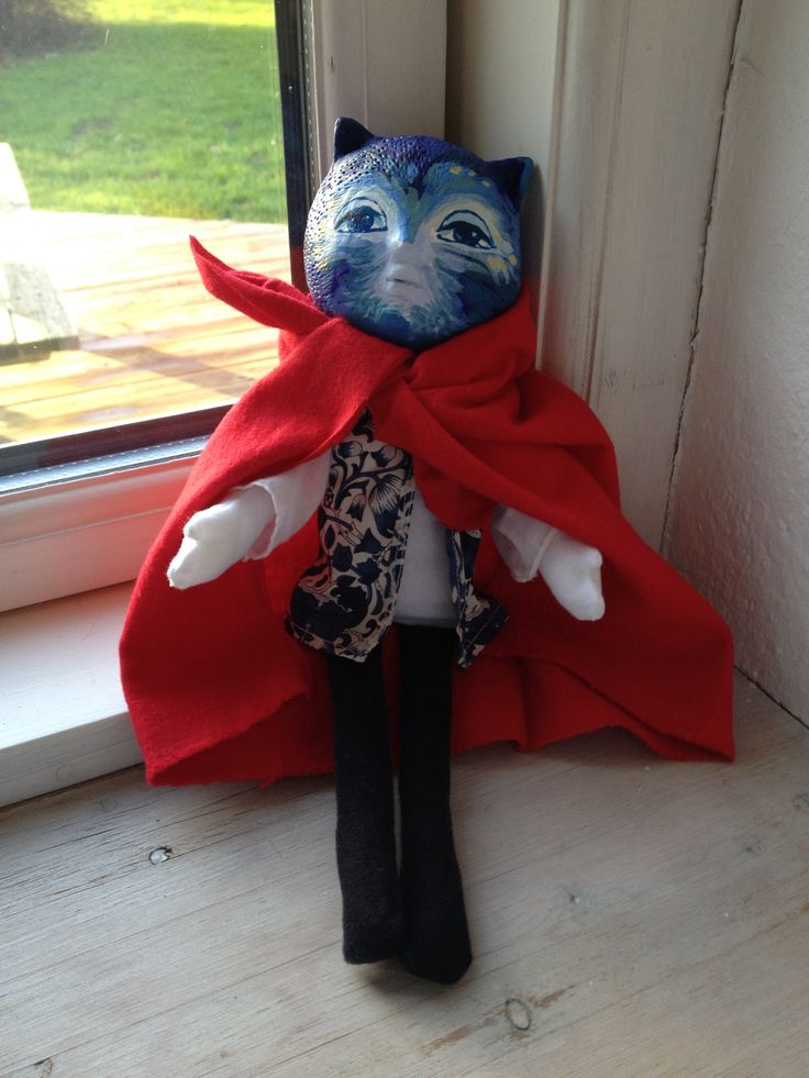 handmade blue cat doll