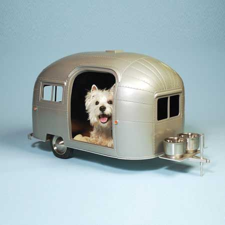 Pet Camper: super cool streamlined trailer!Dogs Beds, Campers, Small Dogs, Dogs House, Pets, Dog Houses, Line Design, Little Dogs, Airstream Trailers