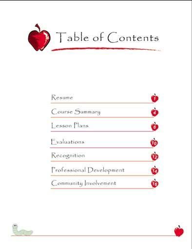 sample teacher portfolio table of contents