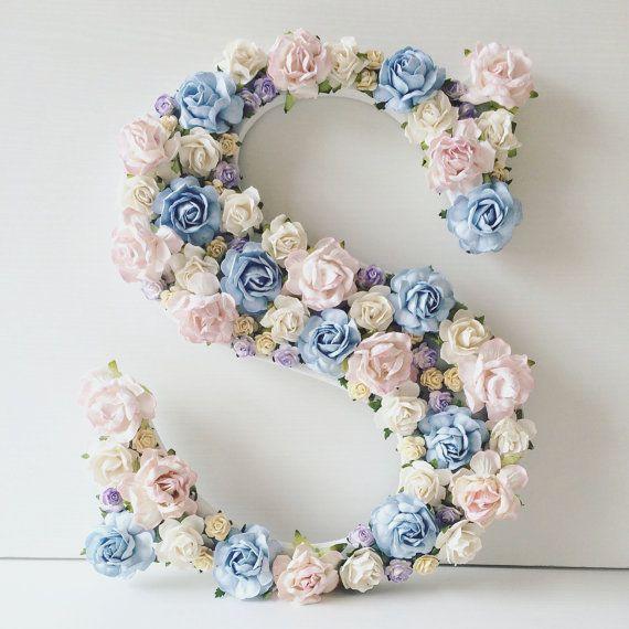 Custom order floral letter //baby shower by AnnekajamBabyArt