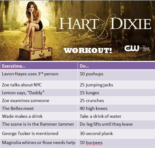 Hart of Dixie workout by yours truly! Let's get moving! #hartofdixie @Katie Hrubec Hrubec Lange