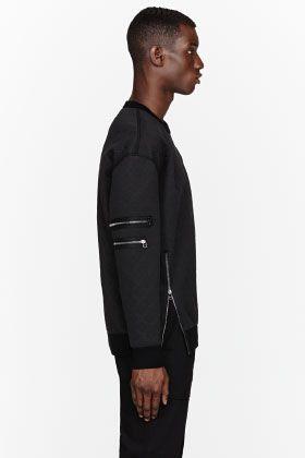 3.1 PHILLIP LIM Black embossed neoprene sweatshirt