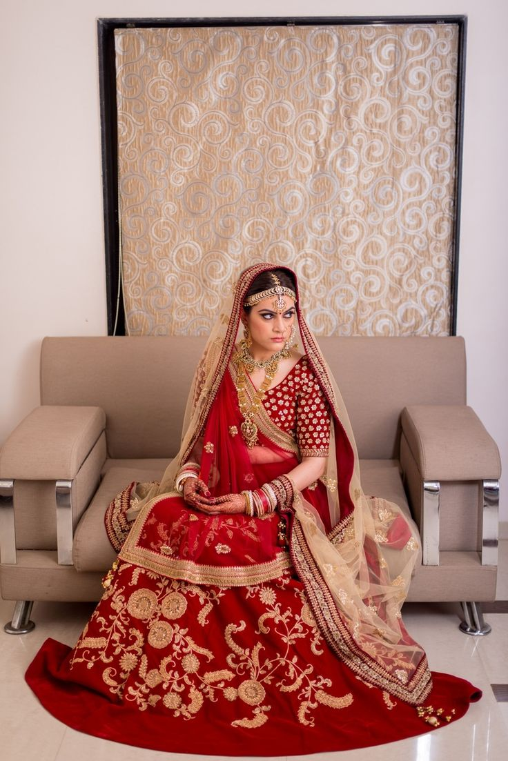 Bridal Lehengas - Deep Red and Gold Lehenga   WedMeGood   Deep Red Bridal Lehenga with Golden Scattered Embroidery with Double Dupatta, Sequinned Blouse and Gold Jewelry #wedmegood #indianbride #indianwedding #red #bridallehenga