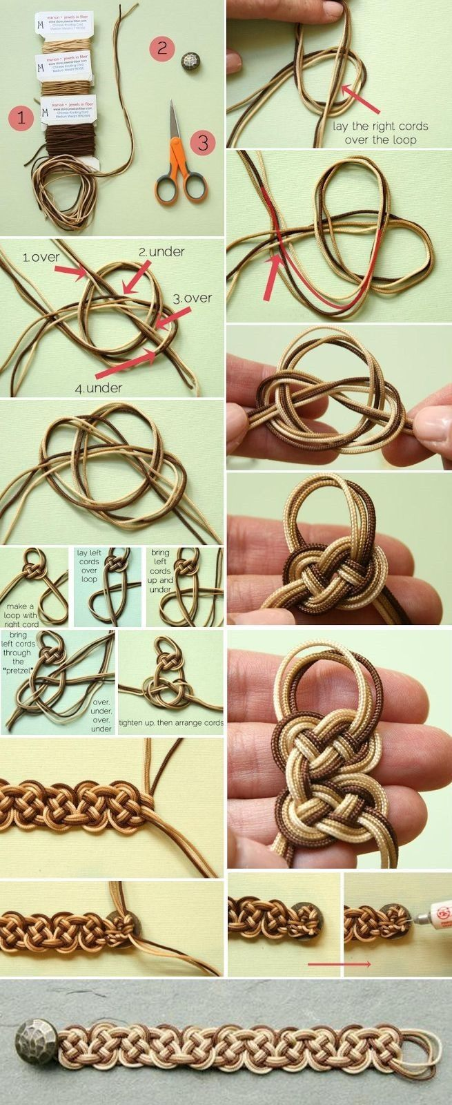 ombre celtic knot bracelet tutorial :: diy jewelry making supplies...I'm not 100% sure I can follow along with what it's trying to show...but it looks cool!