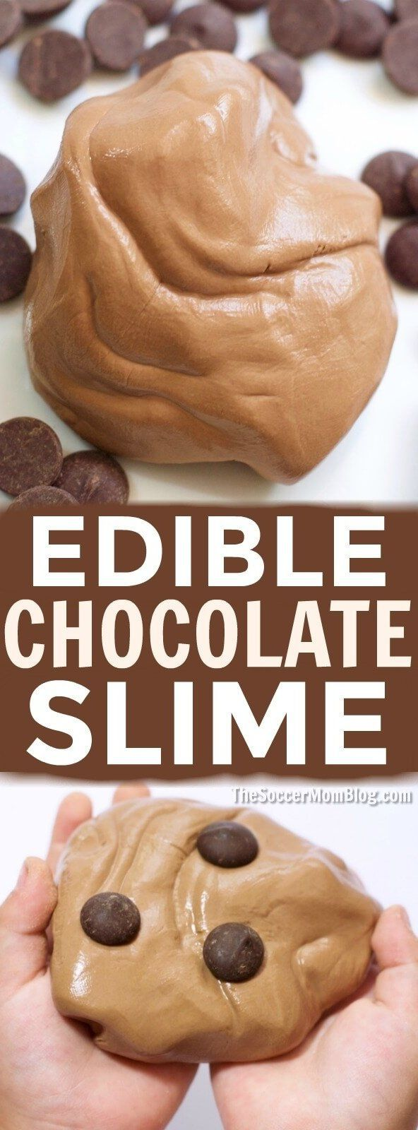 An easy edible chocolate slime recipe that smells just like your favorite decadent desserts! Only 3 simple ingredients for hours of sensory play! #ad #slime #chocolate