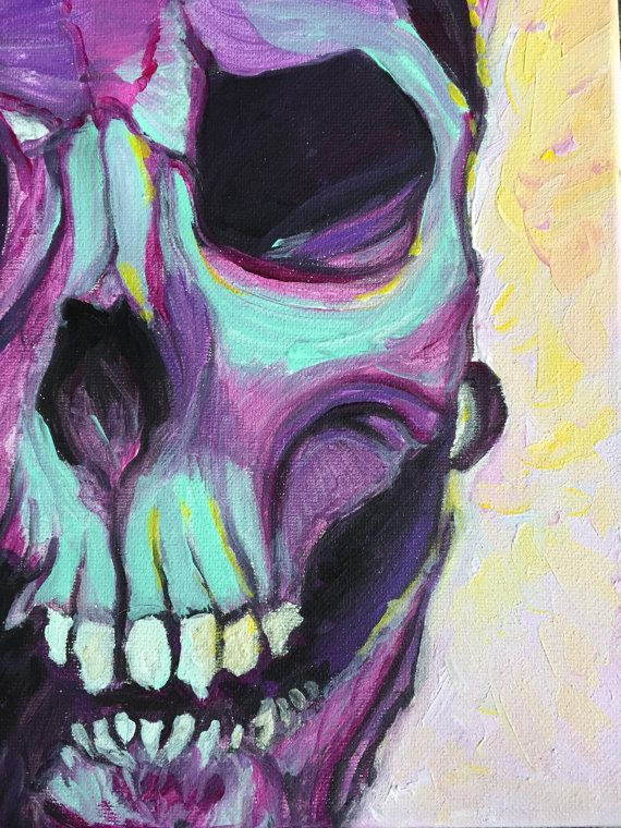 "Original Acrylic Skull Painting ""Ghoulish"" Semi-Abstract Colorful Frederick Maryland Artist Home Decor Modern Art Southern Gothic Art"