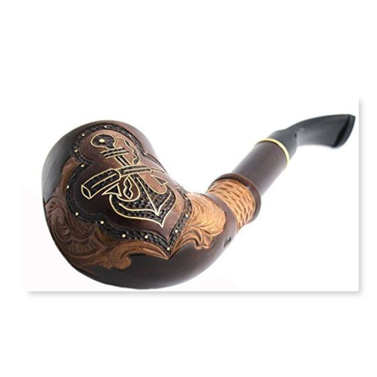 """""""Anchor & Spyglass"""" Pear Wood Hand Carved Tobacco Smoking Pipe + Pouch  The pipe size: Length - 7,2 inch. Height of bowl - 2,6 inch. Width of bowl - 1,8 inch. Inside bowl diameter - 0,7 inch. Inside height of bowl - 1,84 inch."""
