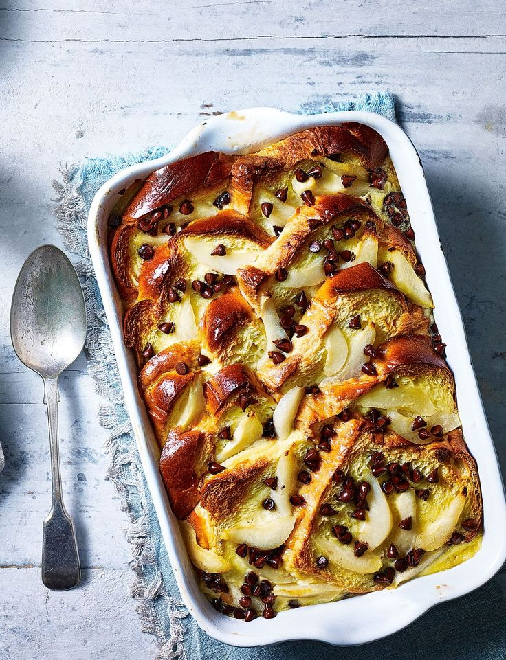 Take 1 brioche loaf and turn it into *this* pear and chocolate brioche pudding