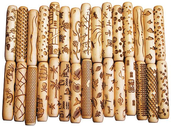 Rollers for marking clay.  Made of maple wood, 4″ long and 3/4″ diameter both stock designs and custom cut rollers made by www.4clay.comKarla Clift