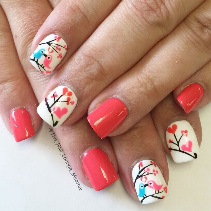 Valentine's Day love bird nail art design