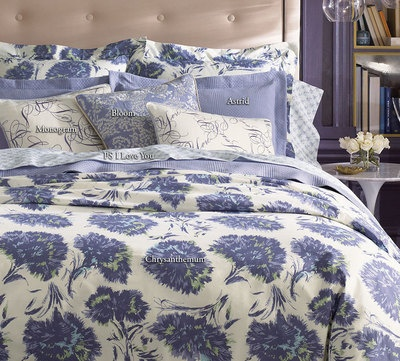 Sferra Peter Som Chrysanthemum Queen Duvet & 3 Shams Blue Lilac Cotton