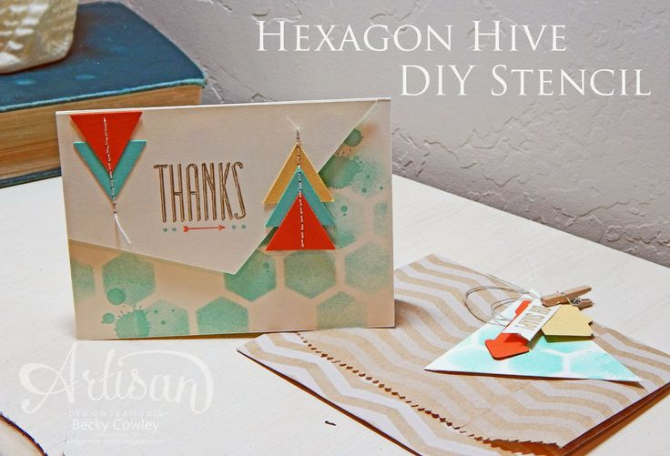 Great way to use the Hexagon Hive Thinlits Die: Hip Note, Artisan Wednesday, Stamps Cards Ideas, Hexagons Hives 1 Jpg 1 400 954, Cards Techniques, 2 Cards, Scrapjunkie, Hexagons Cards, Scrap Junkie