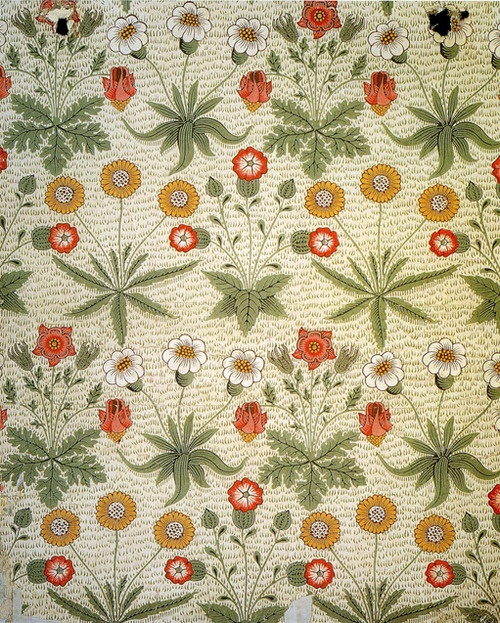 William Morris - 'Daisy' textile design, 1864. Used in Beatrix Potter's bedroom in Hill Top House, Near Sawrey, Cumbria Lake District, England, UK