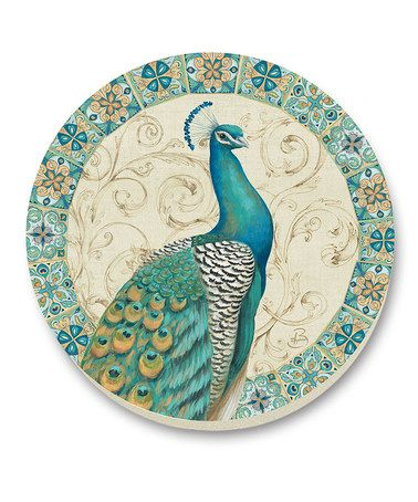 PEACOCK~ Majestic Beauty Stone Trivet by CounterArt on zulily
