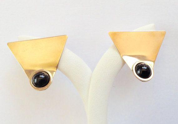 14k Gold Earrings Gold Gemstone Earrings Black Onyx Gold Etsy 14k Gold Earring Gemstone Earrings Metal Earrings