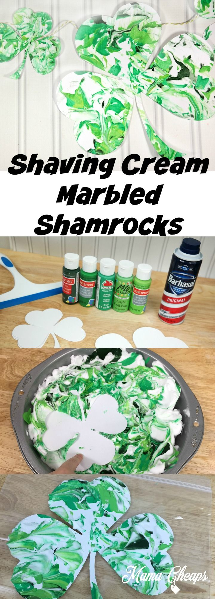 Shaving Cream Marbled Shamrock Craft for Kids!  Easy, fun and the shamrocks turn out so pretty!