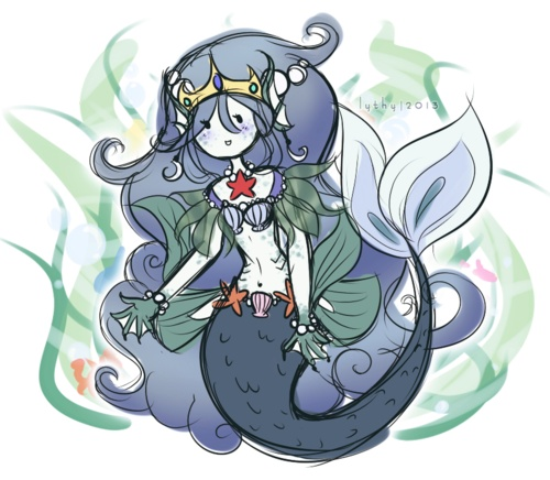 Design for my Adventure Time OC, Marilla, the Mermaid Princess.    I love Adventure Time and I decided I wanted to create a character for the fun of it. I think I made her design too elaborate/detailed, but w/e; I'm happy with it.      Marilla is a very curious mermaid which often tends to get her into trouble more often than not. She's rather shy because she's been sheltered by her father for most of her life in the Mermaid Kingdom, but still has a curiosity for the world around her.