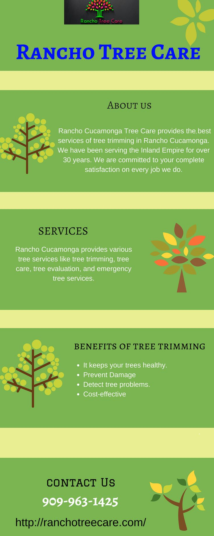 Get ensure emergency tree services with the Rancho tree care. We are leading in the inland empire. We provide various tree services like tree removal, tree trimming, tree preservation, stump grinding & much more at an affordable cost. For more details you can contact us - Rancho Cucamonga Tree Care,  10950 Arrow Route, Unit 1654 Rancho Cucamonga 91729, Contact no. 909-963-1425