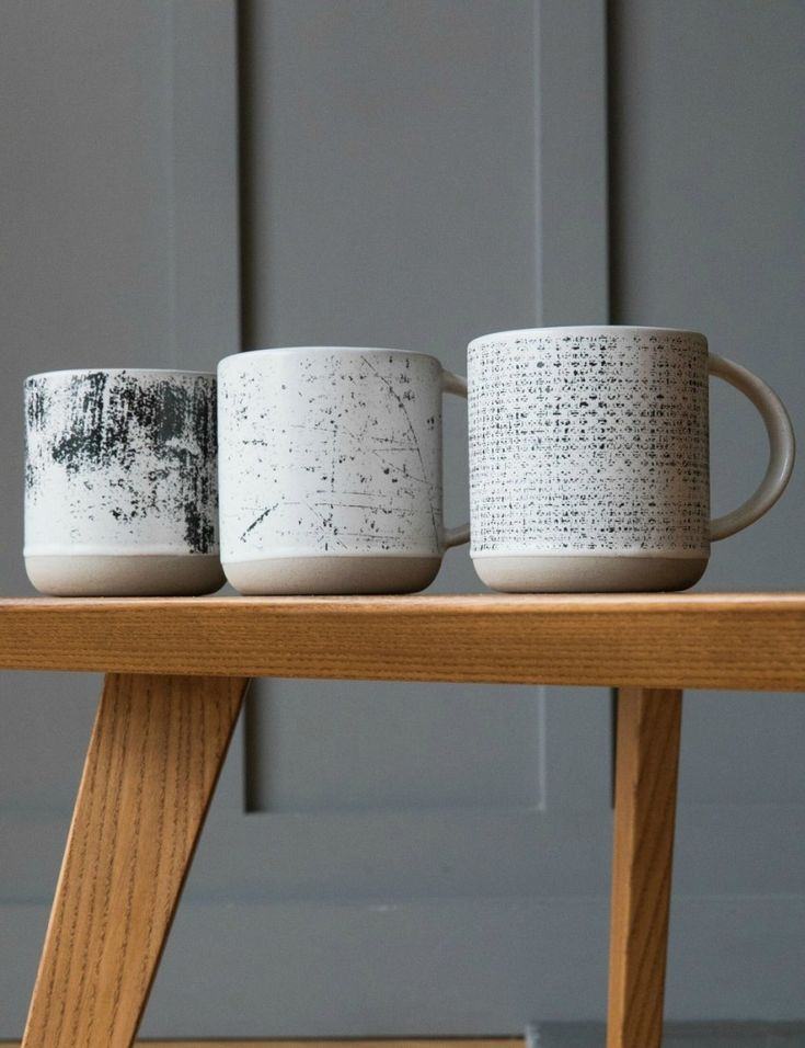 Monochrome Abstract Print Mugs - Set of Three