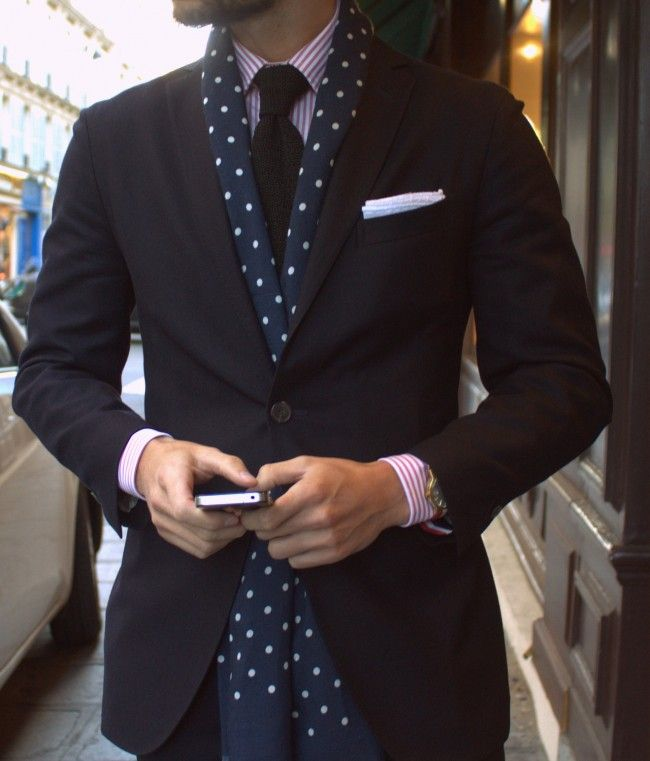 Favorite use of a scarf as part of a tailored look. No need to create a fancy knot - just button your jacket