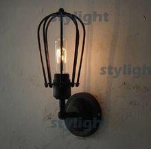 Лофт помело бра металлические чехол настенный светильник промышленность стиль лампа ресторан кафе бар гостиная столовая освещение