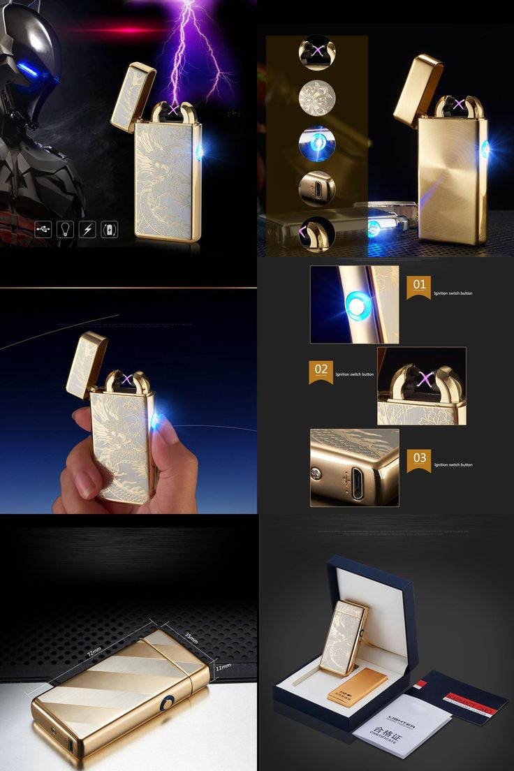 [Visit to Buy] Cigar Cigarette Novelty Usb Rechargeable Electric Arc Lighters Personalized Cross Double Pulse Slim Lighter No Gas Smokeless #Advertisement