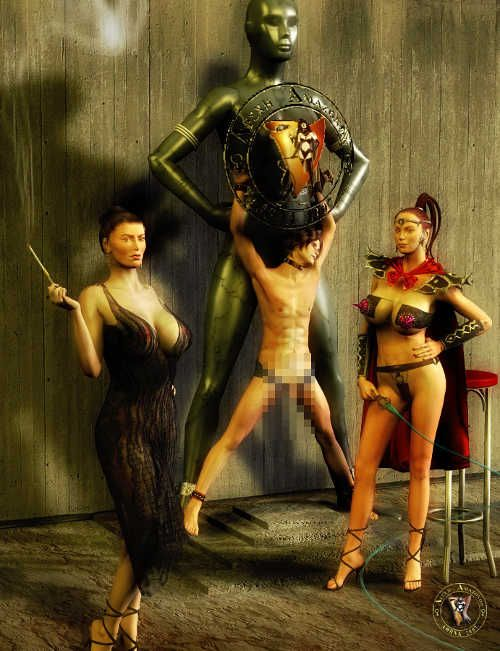 Slim boytoy in the hands of cruel mistresses.