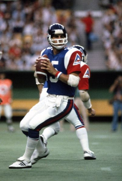 Vince Ferragamo of the Montreal Alouettes drops back to pass during an CFL football game circa 1981 Ferragamo played for Alouettes in 1981