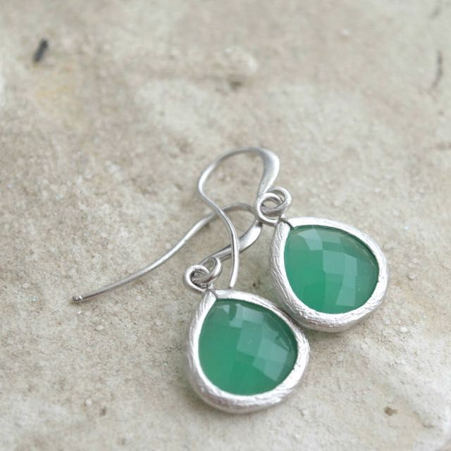 Framed Palace Green Stone Earrings on Carousell