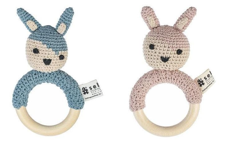 Sebra crochet rattle rabbit on ring, One Size, Baby Toys, Kids