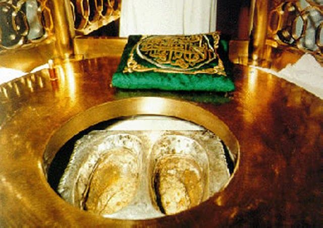 "Footprints of Prophet Ibrahim (A.S) As we walk anti-clockwise around the Kabaa' reciting the Talbiyah – we will pass the station of prophet Ibrahim as known as ""Maqam-e-Ibrahim"". Inside this golden structure is a stone on which prophet Ibrahim stood on when he was building the Kaaba' with his son Isamaa'eel. Allah had allowed the trace of prophet Ibrahim's footprint to show on this stone and preserved through the centuries to this very day for all the Muslims to see. What an amazing miracle…"