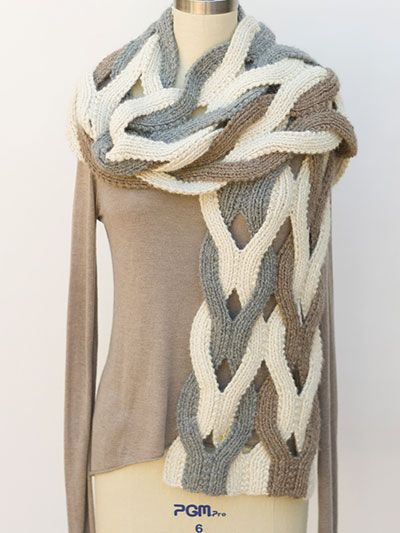 Knit this Japanese Weave Wrap Scarf Knitting Pattern Stitch up a stunning statement scarf!   This interesting technique involves working the strips together, then working them separately and repositioning them to make the weave pattern. A comprehensive photo tutorial is included. Knit  (aff link)