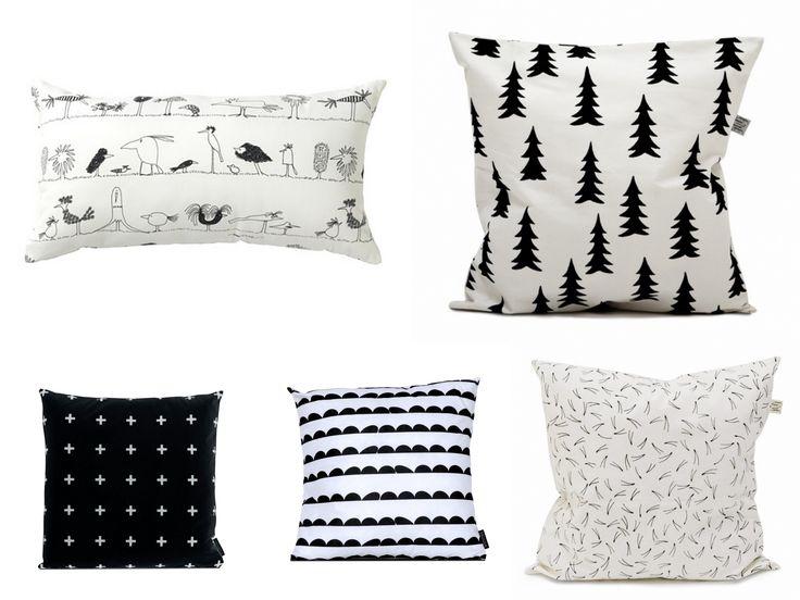 Poduszki dekoracyjne dla dzieci w duecie black&white. Więcej na konceptdziecko.com